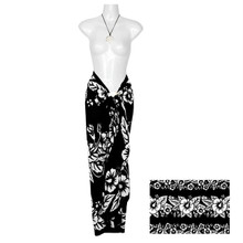 Hibiscus Sarong in Black / White FWS-S-HI-30