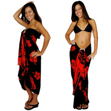 Hibiscus Sarong in Red / Black