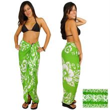 Hibiscus Sarong in Green / White