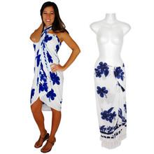 "Hibiscus Sarong ""Blue / White"" HI-40"