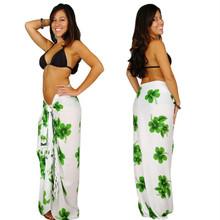 "Hibiscus Sarong ""Green / White"" HI-42"