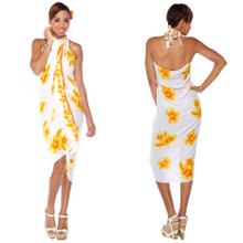 Hibiscus Sarong in Yellow / White