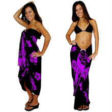 Hibiscus Sarong in Purple On Black