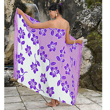 Hibiscus Flower Sarong in Purple/White