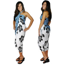 Hibiscus Flower Sarong - Blk/Grey/White
