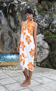 Hibiscus Flower Sarong - in Orange/White