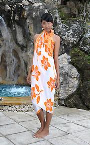 Hibiscus Flower Sarong - in Orange/White