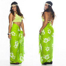 Hibiscus Flower Sarong in Lime Green/White
