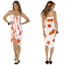 Hibiscus Sarong in Orange / White FWS-S-HI-66