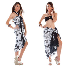 3-Row Hibiscus Sarong in Black/White