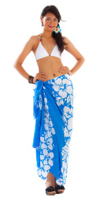 3 Row Hibiscus Sarong in Blue/White