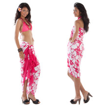 3 Row Hibiscus Sarong in Fuchsia/White