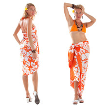 3-Row Hibiscus Sarong in Orange/White