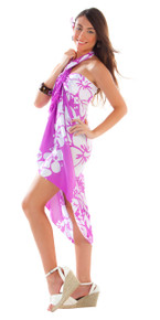 3-Row Hibiscus Sarong in Light Purple/White - HI-74-PUR
