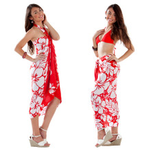 3-Row Hibiscus Sarong in Red/White