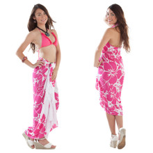 Three Leis Sarong in Pink/White