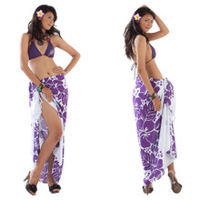 Three Leis Sarong in Purple/White