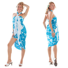 Three Leis Sarong in Turquoise/White