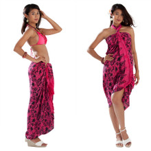 Hibiscus Flower Sarong in Hot Pink