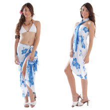 Hibiscus Sarong in White/Blue