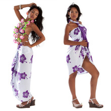 Hibiscus Sarong in White/Violet