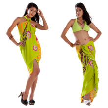 Multi Color Hibiscus Sarong in Lime Green