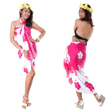 Split Color Hibiscus Flower Sarong in Hot Pink/White