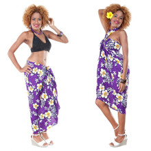 Vivid Hibiscus Flower Sarong in Purple