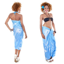 Big Hibiscus Floral Sarong in Light Blue