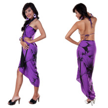 Big Hibiscus Floral Sarong in Purple/Black