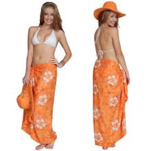 Smoked Hibiscus Sarong in Orange