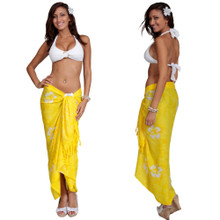 Smoked Hibiscus Sarong in Yellow