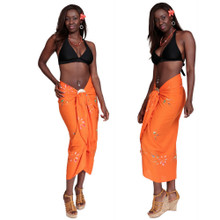 Hand Painted Sarong Floral in Orange Glow