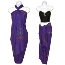 Hand Painted Sarong Floral in Purple Passion