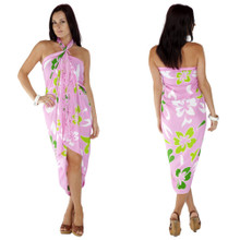 "Hawaiian Sarong ""Pink w/ Greens"""