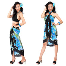 Hawaiian Floral Sarong in Turquoise/Black