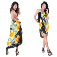 Hawaiian Floral Sarong in Yellow/Black