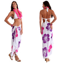 Hawaiian Sarong in Purple / Pink / White