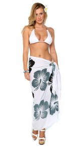 Hawaiian Sarong in Black / Gray / White