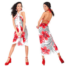 Hawaiian Sarong in Green / Red / White