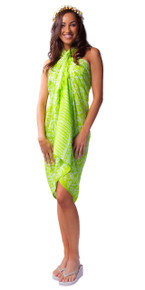 Spring Leaves Sarong in Light Green / White