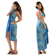 Batik Paisley Sarong in Light Blue and Lime