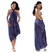 Batik Small Paisley Print Sarong in Navy Blue