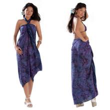 Batik Small Paisley Print Sarong in Navy Blue