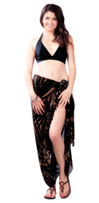 Pareo / Sarong / Pareau Hawaiian Style Floral Wrap Palm Tree - Browns
