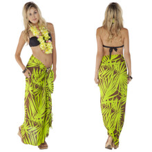 Pareo / Sarong / Pareau Hawaiian Style Floral Wrap Palm Tree 8 - Green/Brown