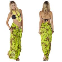 Pareo / Sarong / Pareau Hawaiian Style Floral Wrap Palm Tree 8 - Green/Brown