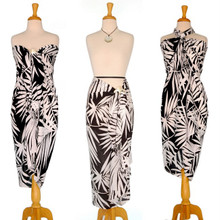 Pareo / Sarong / Pareau Hawaiian Style Floral Wrap Palm Tree - Black/White