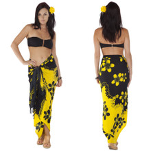 Plumeria Sarong in Yellow and Black