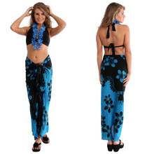 Plumeria Sarong in Black /Turquoise Split